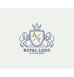 Initial ay letter lion royal luxury logo template vector