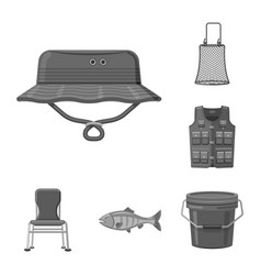 Isolated object of fish and fishing logo set of vector