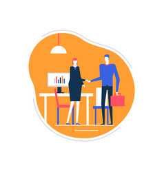 job interview - flat design style colorful vector image