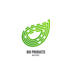 leaf logo bio products icon natural food vector image