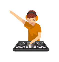 male dj playing track and mixing music on mixer vector image