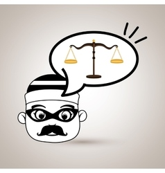 Man criminal law icon vector
