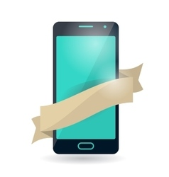 Mobile phone with ribbon vector image
