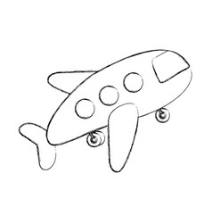 monochrome contour hand drawing of cartoon jet vector image