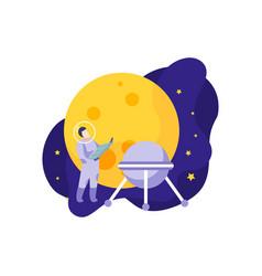 Moon satellite astronaut composition vector