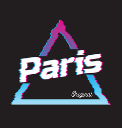 Paris city glitch effect retro vector