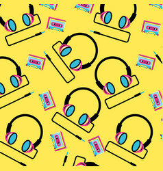 Pattern headphone with cassette tape nineties vector