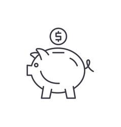 piggy bank line icon concept piggy bank vector image