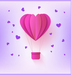 pink folded paper hot air balloon in form of heart vector image