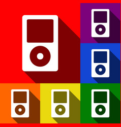 Portable music device set of icons with vector