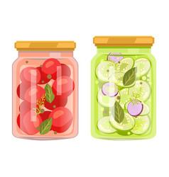 Preserved food in jars vegetables with bay leaves vector