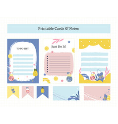 Printable cards and notes with summer vector