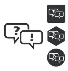 Question answer icon set monochrome vector image