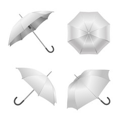 realistic detailed 3d white blank umbrella vector image