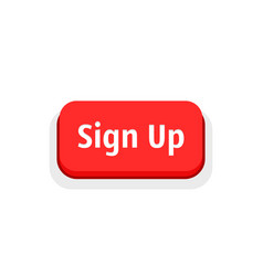 Red sign up button isolated on white vector