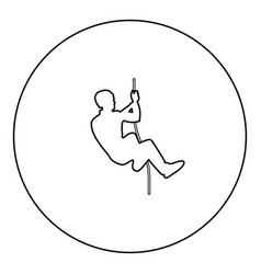 rock climber icon black color in round circle vector image