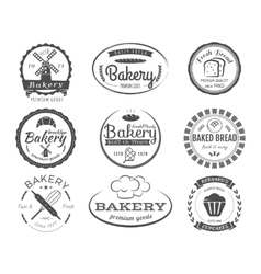 set bakery labels badges and design elements vector image
