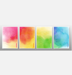 set bright multicolor watercolor background vector image