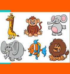set cartoon funny animal characters vector image