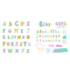 set colorfull font for children are drawn by vector image