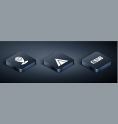 Set isometric map pointer with mountain cruise vector