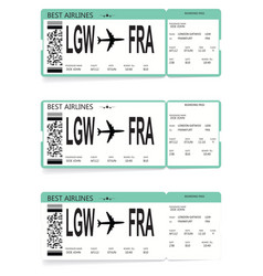 set of airline boarding pass tickets vector image