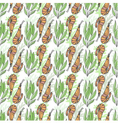 shrimps and seaweed seamless pattern wrapping vector image