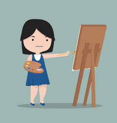 small girl artist draws with paint vector image