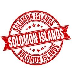 Solomon Islands red round grunge vintage ribbon vector