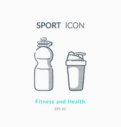 Sport shaker and bottle icons on white background vector