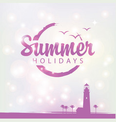 summer banner with lighthouse and palm trees vector image