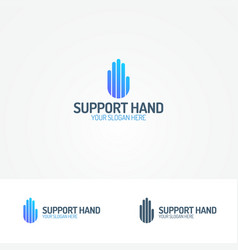 support hand logo consisting line vector image