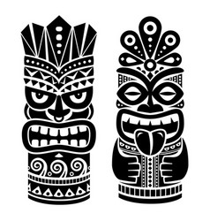 tiki pole totem design - traditional statue vector image