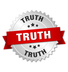 Truth 3d silver badge with red ribbon vector