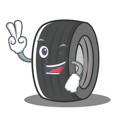 Two finger tire character cartoon style vector