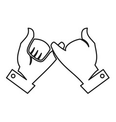 Two hand commitment teamwork together outline logo vector