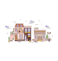 Urban landscape or cityscape with facades of vector
