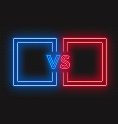 Versus screen with neon frames and vs sign on the vector