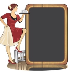 waitress with a tray vector image