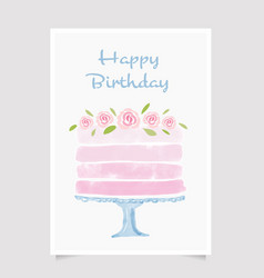 watercolor cake happy birthday card template vector image