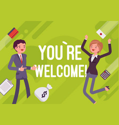 You are welcome business motivation poster vector