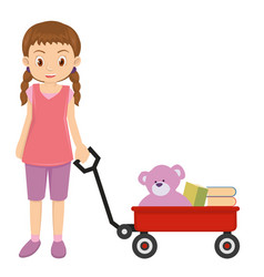 Young little girl playing with red wagon and pink vector