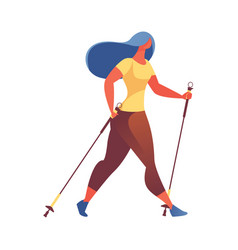young woman hiking with walking poles exersising vector image