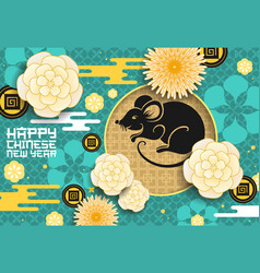 Zodiac rat with chinese new year papercut flowers vector