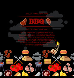 bbq party poster design with barbeque and meat vector image