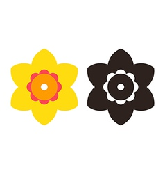 Narcissus - flower icon set vector image vector image