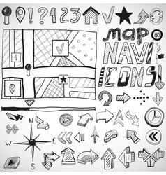 Navigation hand drawn doodles vector image