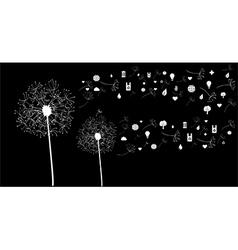 White social network flower vector image