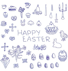 Big set of hand-drawn sketchy Easter objects vector image