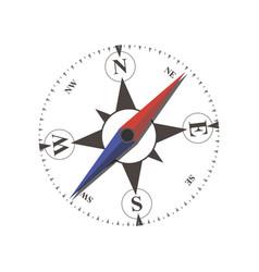 compass flat arrow old sea navigation travel vector image vector image